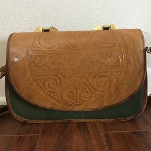 Vintage tooled leather green briefcase purse